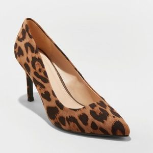 Gemma Faux-Leather Leopard PointedToe Heeled Pumps